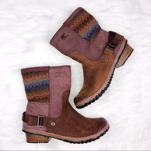 Sorel Slim Shortie Boots Sz 10 Brown Mauve Pink